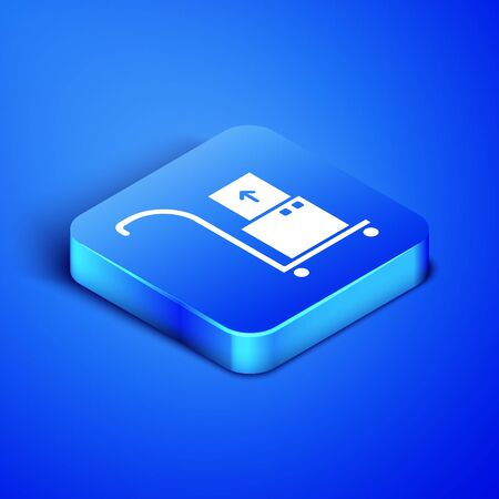 Isometric Hand truck and boxes icon isolated on blue background. Dolly symbol. Blue square button. Vector Illustration