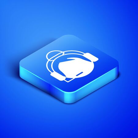 Isometric Woman with a headset icon isolated on blue background. Support operator in touch. Concept for call center, client support service. Blue square button. Vector Illustration