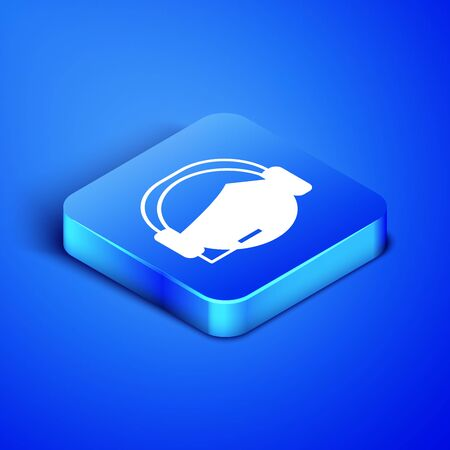 Isometric Man with a headset icon isolated on blue background. Support operator in touch. Concept for call center, client support service. Blue square button. Vector Illustration
