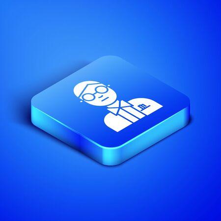 Isometric Scientist icon isolated on blue background. Blue square button. Vector Illustration Ilustração