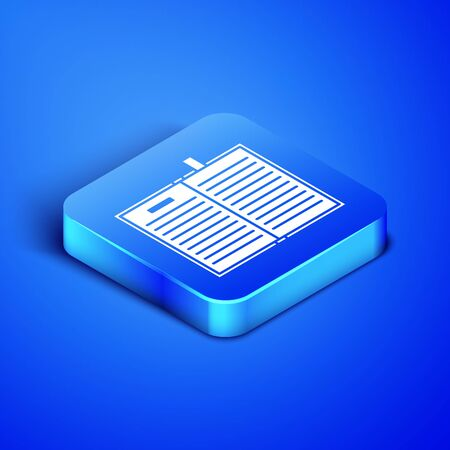 Isometric Open science book icon isolated on blue background. Blue square button. Vector Illustration