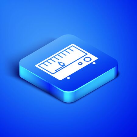 Isometric Electrical measuring instruments icon isolated on blue background. Analog devices. Electrical appliances. Blue square button. Vector Illustration Ilustrace