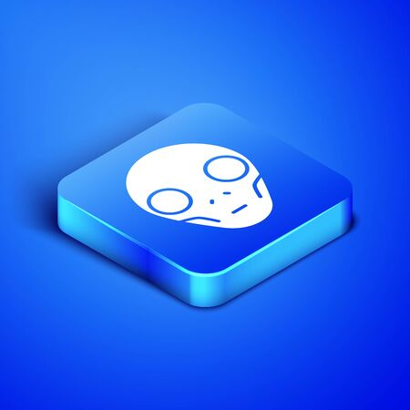 Isometric Alien icon isolated on blue background. Extraterrestrial alien face or head symbol. Blue square button. Vector Illustration