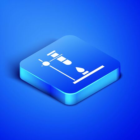 Isometric Glass test tube flask on fire heater experiment icon isolated on blue background. Laboratory equipment. Blue square button. Vector Illustration Ilustração