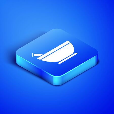 Isometric Mortar and pestle icon isolated on blue background. Blue square button. Vector Illustration