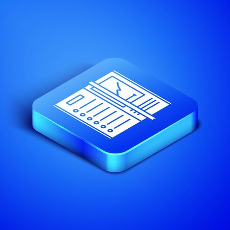 Isometric Notebook icon isolated on blue background. Spiral notepad icon. Writing pad. Diary for business. Notebook cover design. Blue square button. Vector Illustration 版權商用圖片 - 133407964