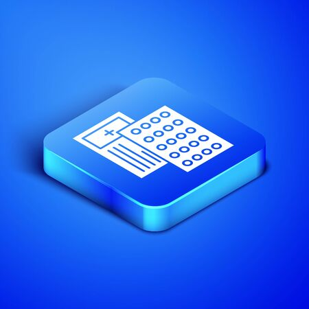 Isometric Pills in blister pack icon isolated on blue background. Medical drug package for tablet, vitamin, antibiotic, aspirin. Blue square button. Vector Illustration Ilustração