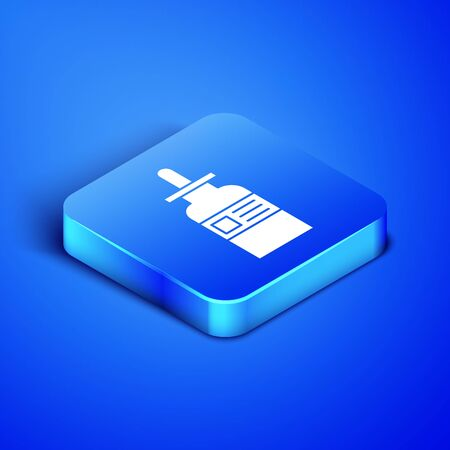 Isometric Glass bottle with a pipette icon isolated on blue background. Container for medical and cosmetic product. Blue square button. Vector Illustration