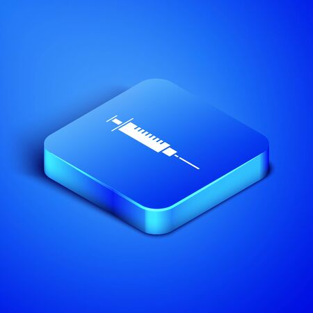 Isometric Syringe icon isolated on blue background. Syringe for vaccine, vaccination, injection, flu shot. Medical equipment. Blue square button. Vector Illustration