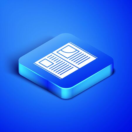 Isometric Open book icon isolated on blue background. Blue square button. Vector Illustration