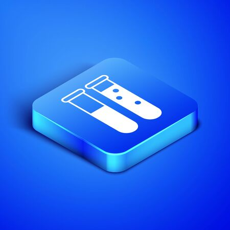 Isometric Test tube and flask chemical laboratory test icon isolated on blue background. Laboratory glassware sign. Blue square button. Vector Illustration