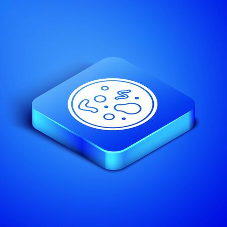 Isometric Bacteria icon isolated on blue background. Bacteria and germs, microorganism disease causing, cell cancer, microbe, virus, fungi. Blue square button. Vector Illustration