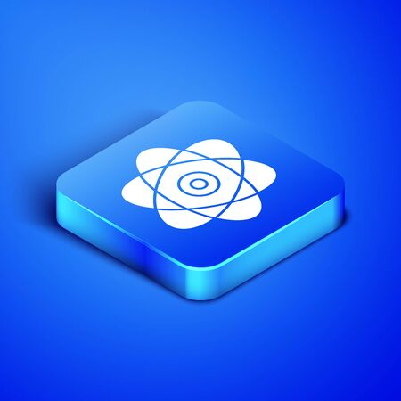 Isometric Atom icon isolated on blue background. Symbol of science, education, nuclear physics, scientific research. Electrons and protons sign. Blue square button. Vector Illustration