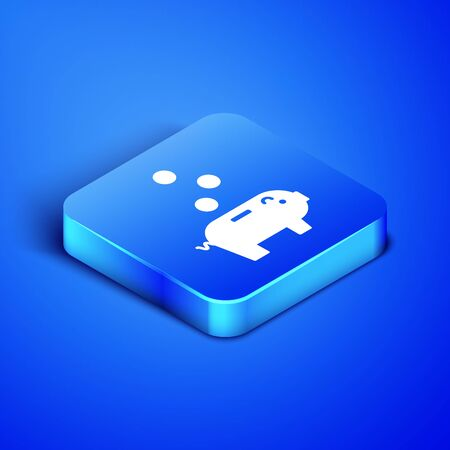 Isometric Piggy bank with icon isolated on blue background. Icon saving or accumulation of money, investment. Blue square button. Vector Illustration