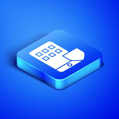 Isometric Mobile phone with shield icon isolated on blue background. Smartphone insurance. Security, safety, protection, protect concept. Blue square button. Vector Illustration Illustration