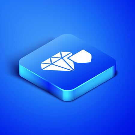 Isometric Diamond with shield icon isolated on blue background. Jewelry insurance concept. Security, safety, protection, protect concept. Blue square button. Vector Illustration