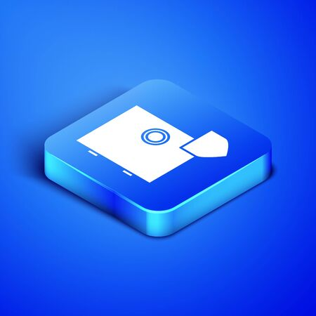 Isometric Safe with shield icon isolated on blue background. Insurance concept. Security, safety, protection, protect concept. Blue square button. Vector Illustration Çizim