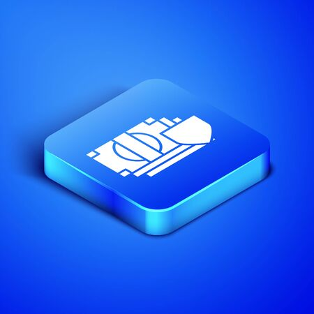 Isometric Money with shield icon isolated on blue background. Insurance concept. Security, safety, protection, protect concept. Blue square button. Vector Illustration