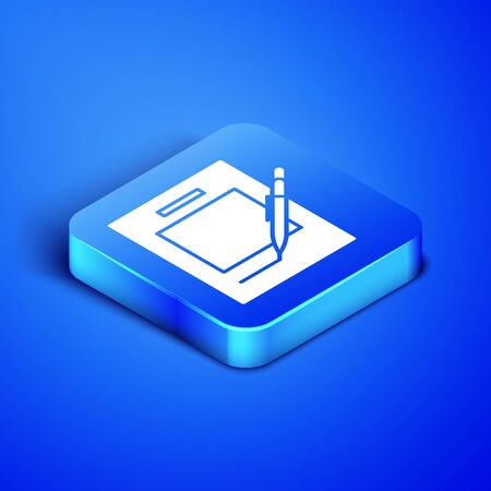 Isometric Blank notebook and pen icon isolated on blue background. Paper and pen. Blue square button. Vector Illustration