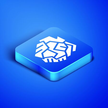 Isometric Crumpled paper ball icon isolated on blue background. Blue square button. Vector Illustration