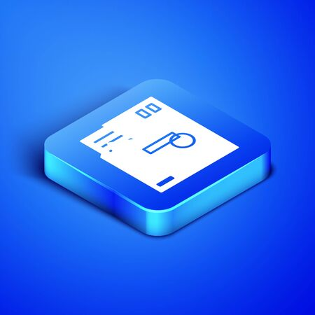 Isometric Ordered envelope icon isolated on blue background. Email message letter symbol. Blue square button. Vector Illustration