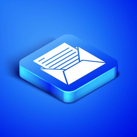Isometric Mail and e-mail icon isolated on blue background. Envelope symbol e-mail. Email message sign. Blue square button. Vector Illustration Illusztráció