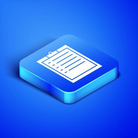 Isometric Clipboard with checklist icon isolated on blue background. Blue square button. Vector Illustration Illusztráció