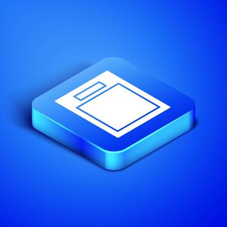 Isometric Empty form icon isolated on blue background. File icon. Checklist icon. Business concept. Blue square button. Vector Illustration