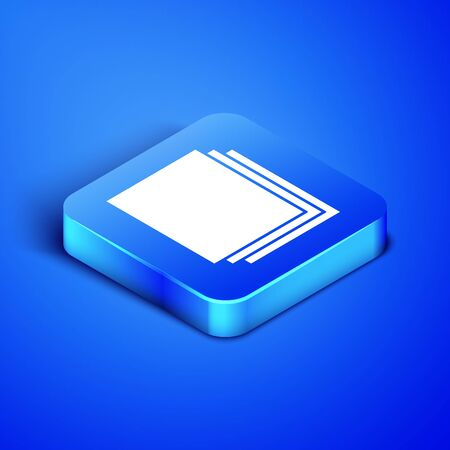 Isometric Clean paper icon isolated on blue background. File icon. Checklist icon. Business concept. Blue square button. Vector Illustration