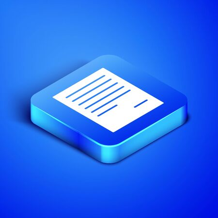 Isometric Document icon isolated on blue background. File icon. Checklist icon. Business concept. Blue square button. Vector Illustration Illusztráció