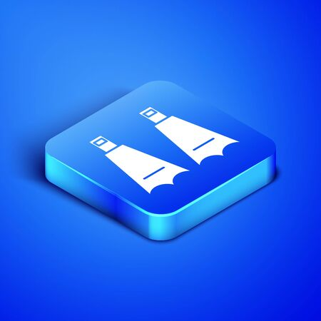 Isometric Rubber flippers for swimming icon isolated on blue background. Diving equipment. Extreme sport. Diving underwater equipment. Blue square button. Vector Illustration Illustration