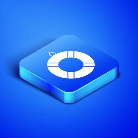 Isometric Lifebuoy icon isolated on blue background. Lifebelt symbol. Blue square button. Vector Illustration