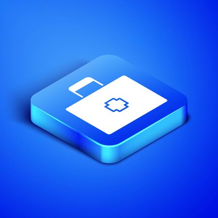 Isometric First aid kit icon isolated on blue background. Medical box with cross. Medical equipment for emergency. Healthcare concept. Blue square button. Vector Illustration