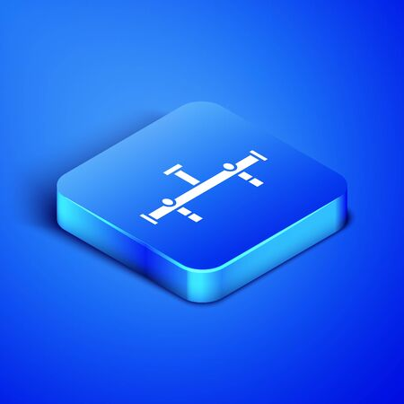 Isometric Manifold icon isolated on blue background. Blue square button. Vector Illustration Ilustrace
