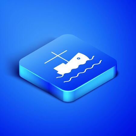 Isometric Fishing boat on water icon isolated on blue background. Blue square button. Vector Illustration  イラスト・ベクター素材