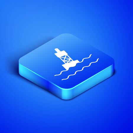 Isometric Floating buoy on the sea icon isolated on blue background. Blue square button. Vector Illustration Иллюстрация