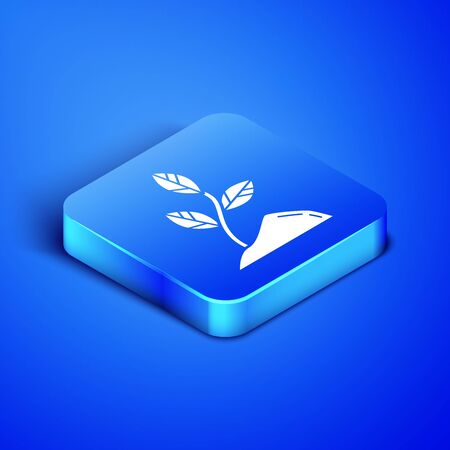 Isometric Sprout icon isolated on blue background. Seed and seedling. Leaves sign. Leaf nature. Blue square button. Vector Illustration