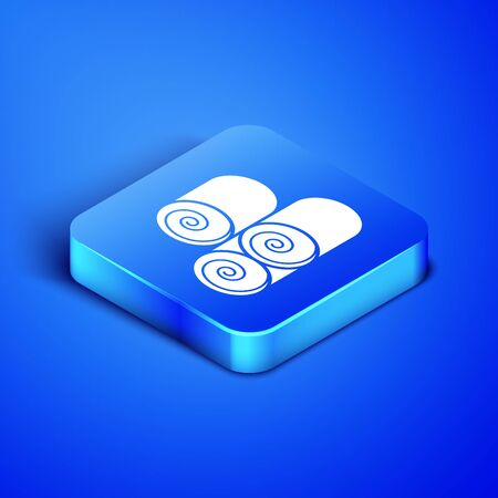 Isometric Roll of hay icon isolated on blue background. Blue square button. Vector Illustration