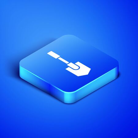 Isometric Shovel icon isolated on blue background. Gardening tool. Tool for horticulture, agriculture, farming. Blue square button. Vector Illustration