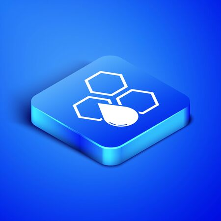 Isometric Honeycomb icon isolated on blue background. Honey cells symbol. Sweet natural food. Blue square button. Vector Illustration Ilustrace