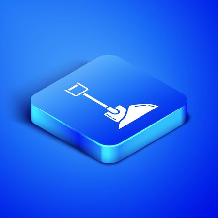 Isometric Shovel in the ground icon isolated on blue background. Gardening tool. Tool for horticulture, agriculture, farming. Blue square button. Vector Illustration