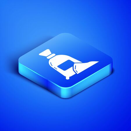 Isometric Bag of flour icon isolated on blue background. Blue square button. Vector Illustration