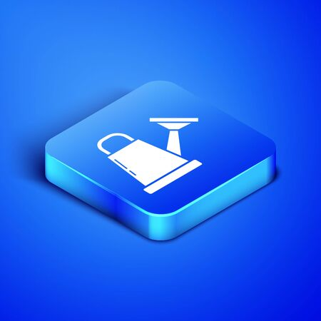Isometric Watering can icon isolated on blue background. Irrigation symbol. Blue square button. Vector Illustration