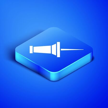 Isometric Push pin icon isolated on blue background. Thumbtacks sign. Blue square button. Vector Illustration 向量圖像