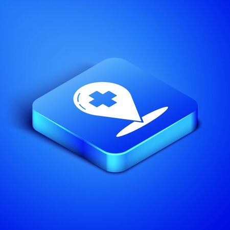 Isometric Medical map pointer with cross hospital icon isolated on blue background. Blue square button. Vector Illustration Ilustração