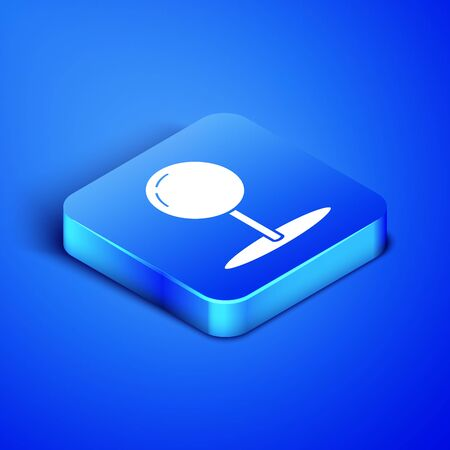 Isometric Push pin icon isolated on blue background. Thumbtacks sign. Blue square button. Vector Illustration 版權商用圖片 - 133408403