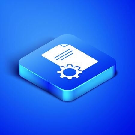 Isometric File document icon isolated on blue background. Adjusting, service, setting, maintenance, repair, fixing. Blue square button. Vector Illustration