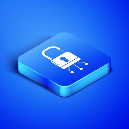 Isometric Cyber security icon isolated on blue background. Closed padlock on digital circuit board. Safety concept. Digital data protection. Blue square button. Vector Illustration