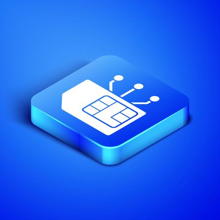 Isometric Sim card icon isolated on blue background. Mobile cellular phone sim card chip. Mobile telecommunications technology symbol. Blue square button. Vector Illustration Фото со стока - 133408485