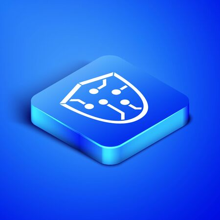 Isometric Cyber security icon isolated on blue background. Shield sign. Safety concept. Digital data protection. Blue square button. Vector Illustration